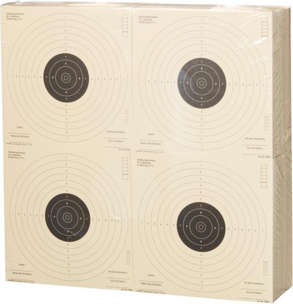 Zielscheibe für Pistole, Pistolenscheibe 17x17cm, 1000 Stück