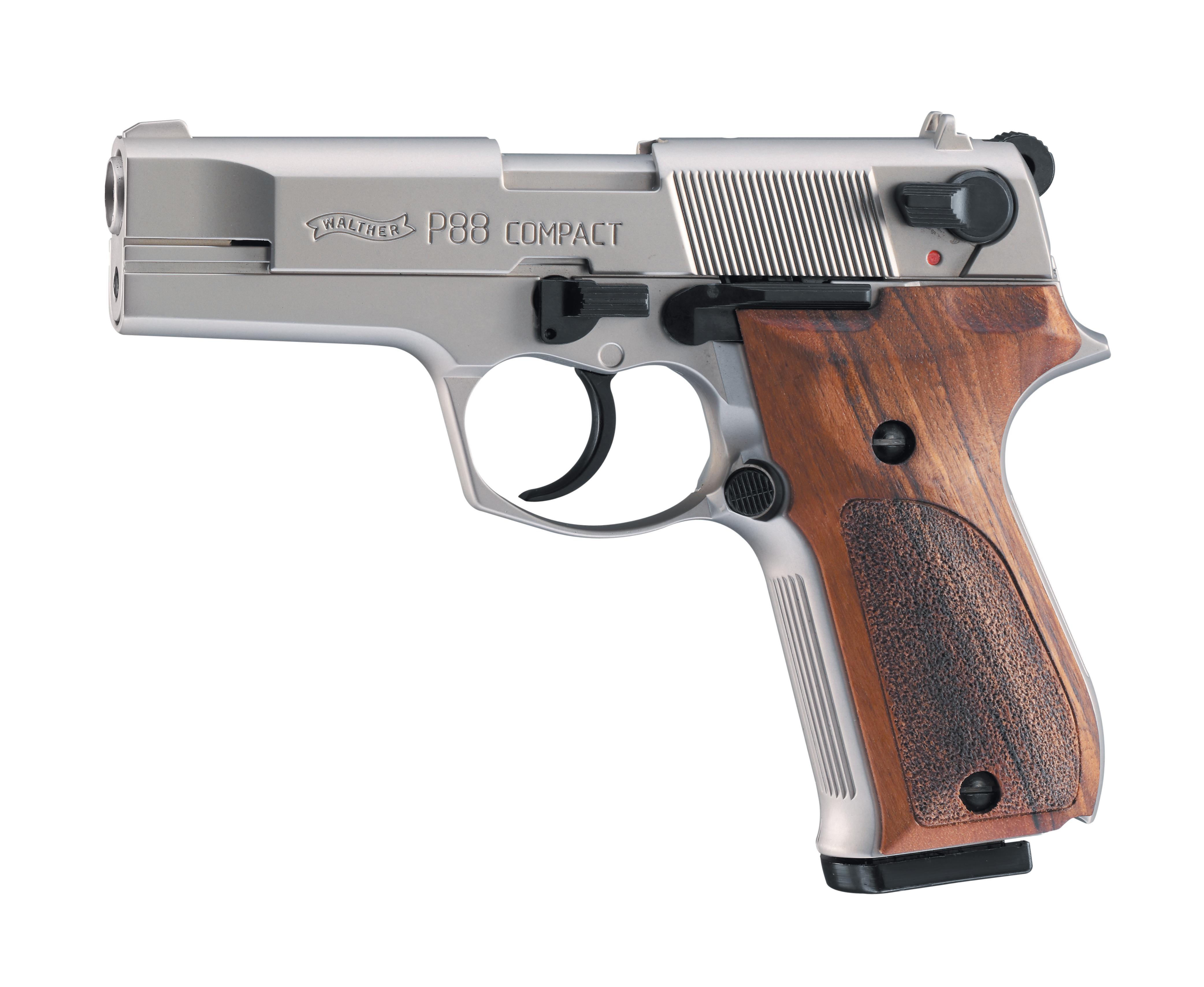 Walther P88 Schreckschuss Pistole 9mm P.A.K., nickel mit Holzgriffschalen