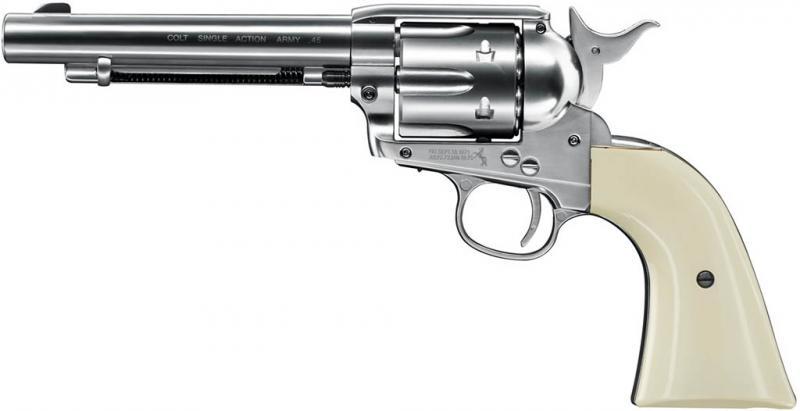 Colt Single Action Army 45 nickel CO2-Revolver 4,5mm Diabolo gezogener Lauf (SAA)