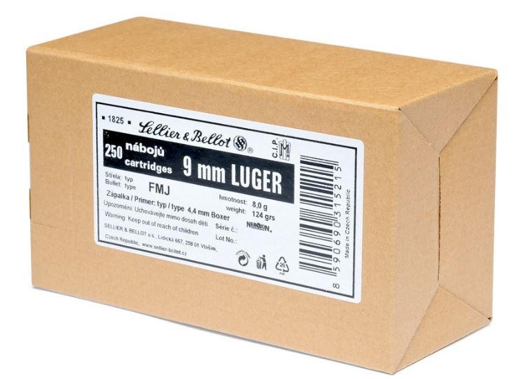 S&B 9mm Luger, FMJ, 124grs, 250 Schuss