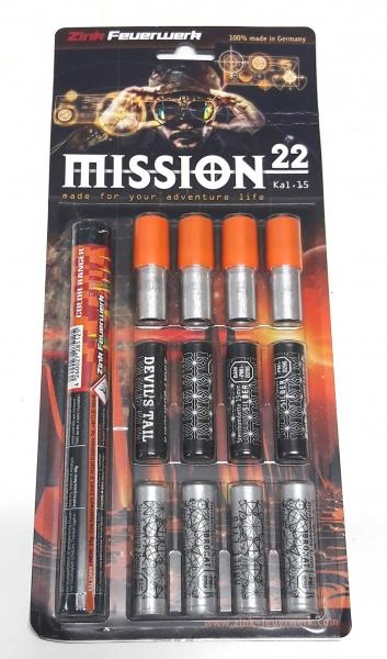 Feuerwerk Zink Mission 22, 22teilig cal. 15mm Pyrotechnik
